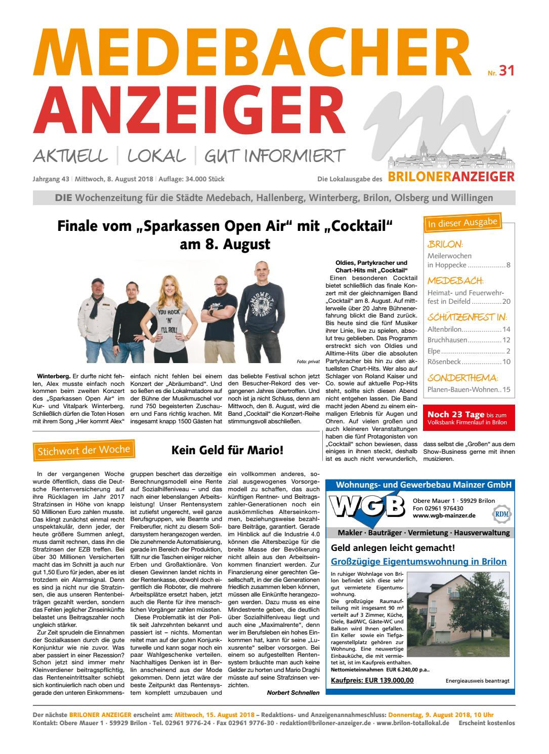 Medebacher Anzeiger, Ausgabe vom 08.08.2018 Nr.31 by Brilon-totallokal -  issuu