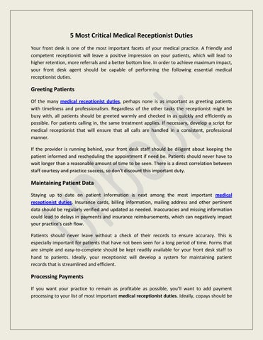 5 Most Critical Medical Receptionist Duties by UPbook - issuu