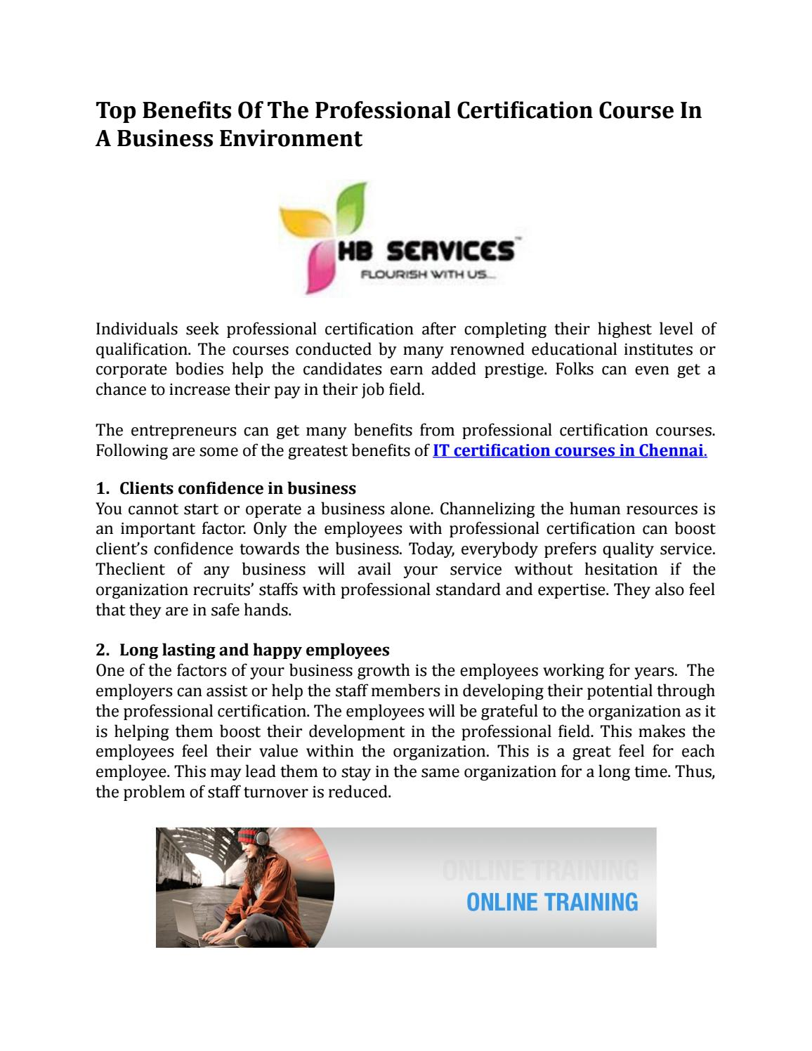 Top Benefits Of The Professional Certification Course In A Business