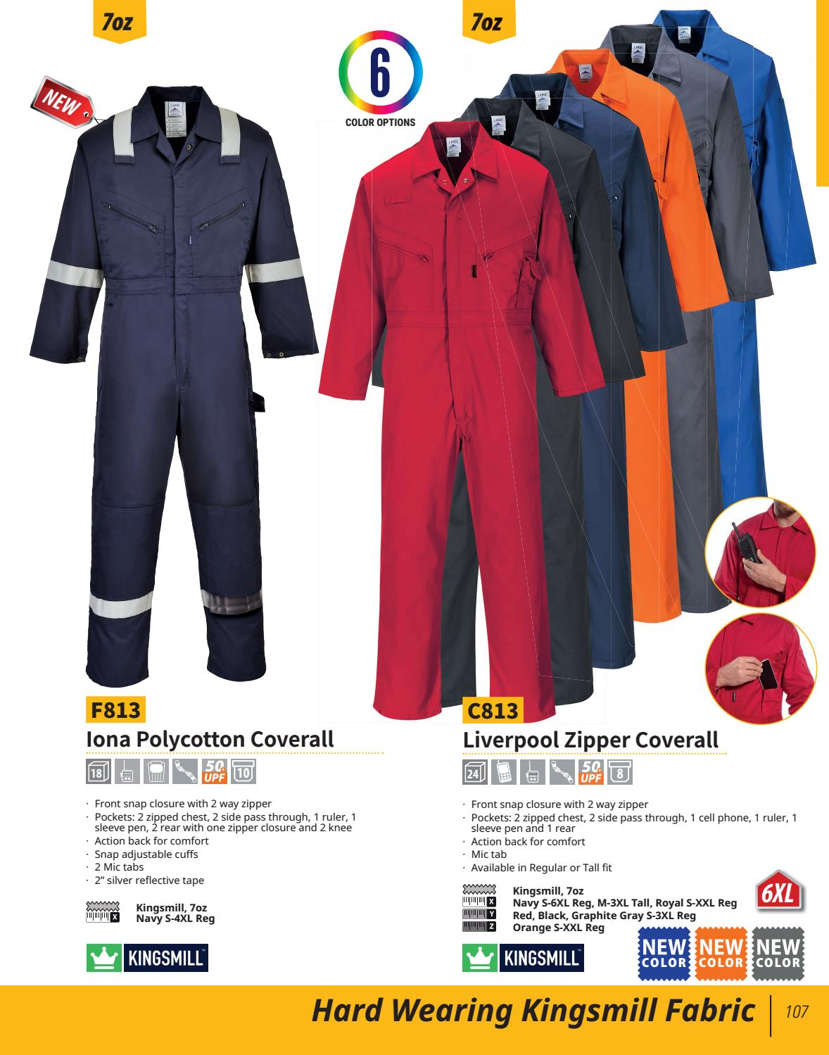 Portwest C813 Zipper Work Coveralls Regular /& Tall fit