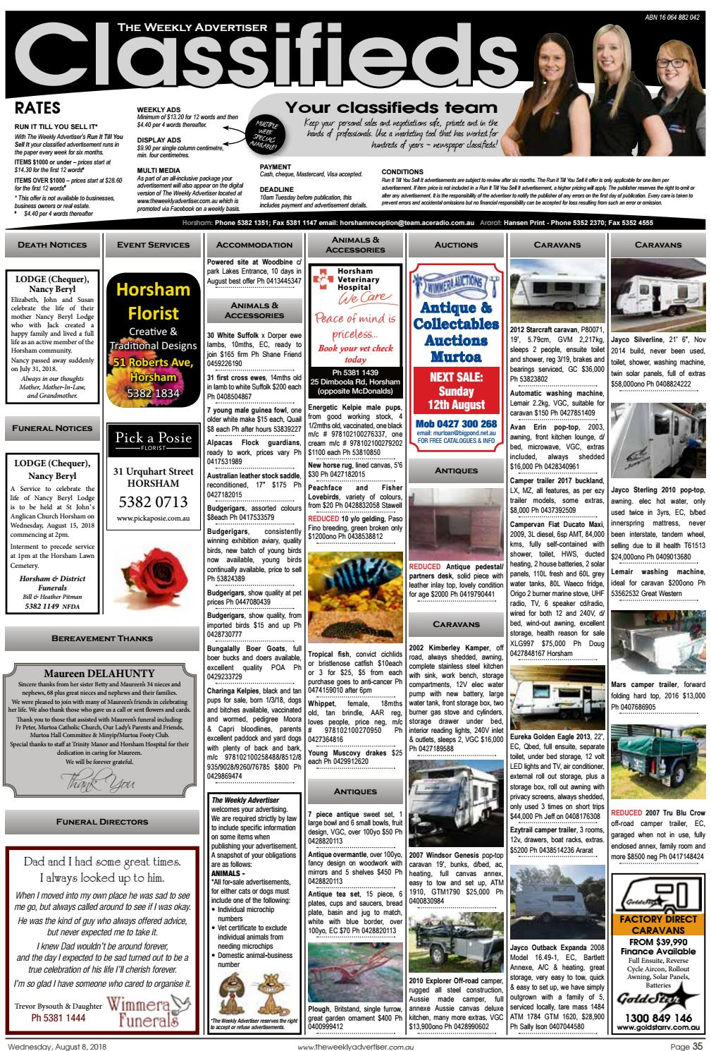 The Weekly Advertiser - Wednesday, August 8, 2018 by The