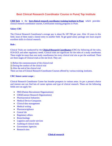 Best Clinical Research Coordinator Course in Pune by Ashwini