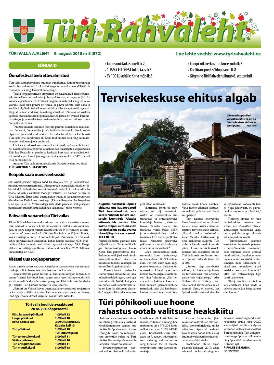 72bb8753ce0 09.08.2018 Türi Rahvaleht by Tyri Development Agency - issuu