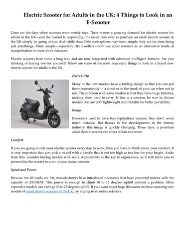 Electric Scooter For Adults In The Uk 4 Things To Look In An E