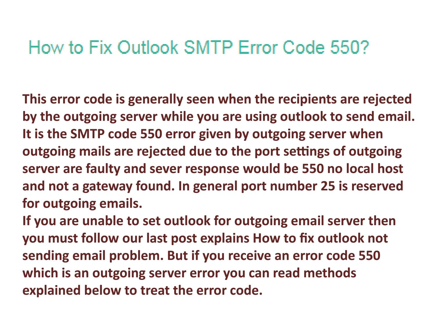 Call 1-844-707-3772 For Outlook Smtp Error Code 550 by