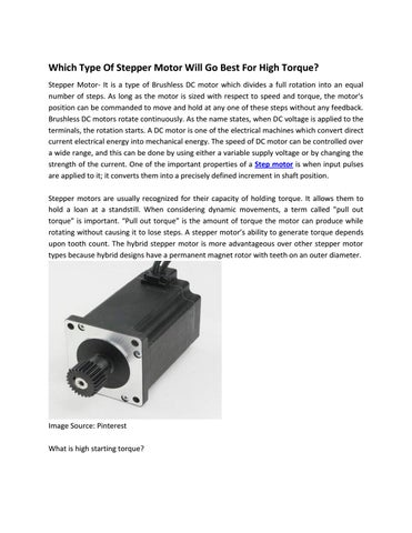 Which Type Of Stepper Motor Will Go Best For High Torque? by
