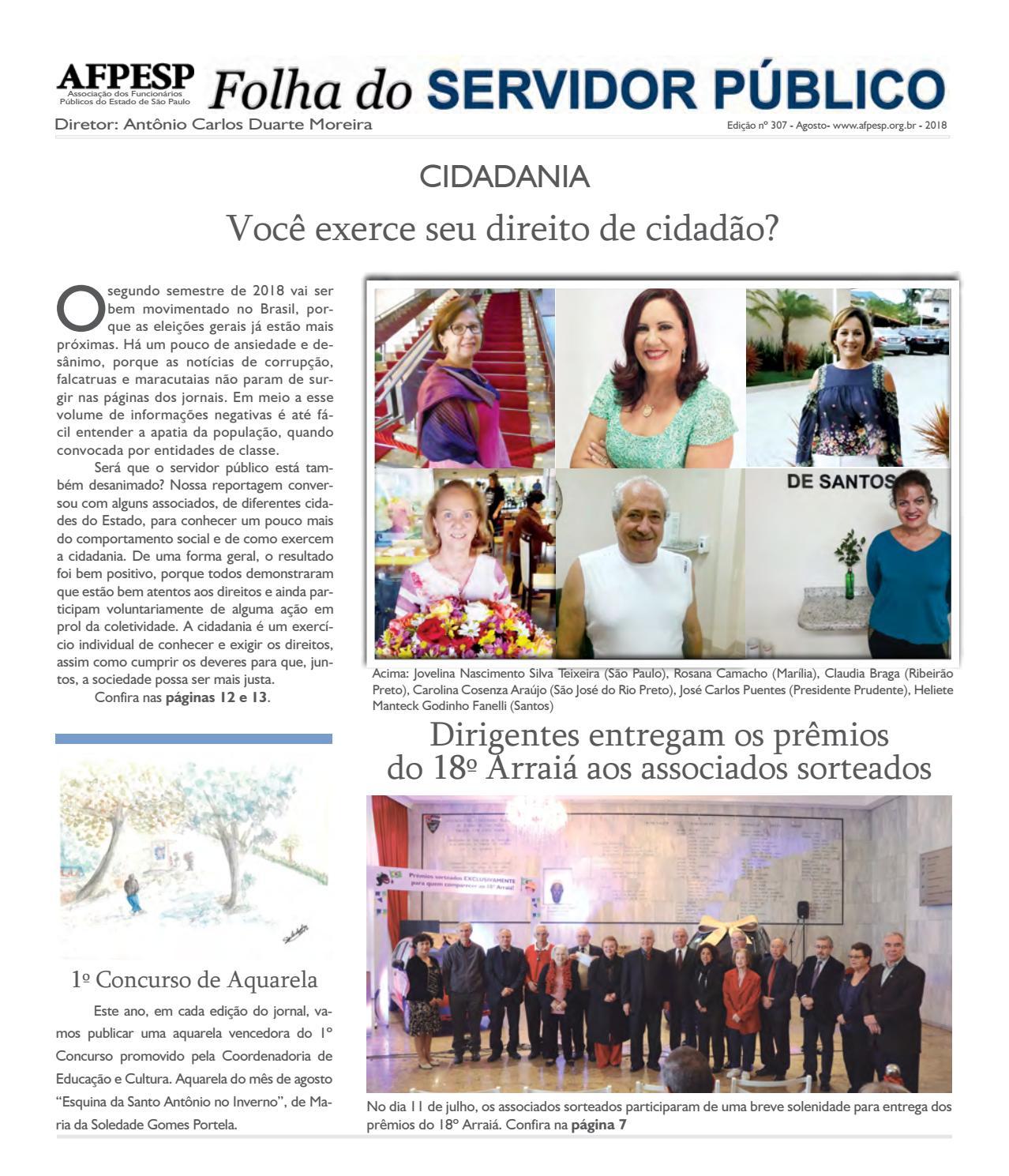 4cfb1a11f Folha do Servidor Público - Agosto - 2018 - Edição 307 by  folhadoservidorpublico - sp - issuu