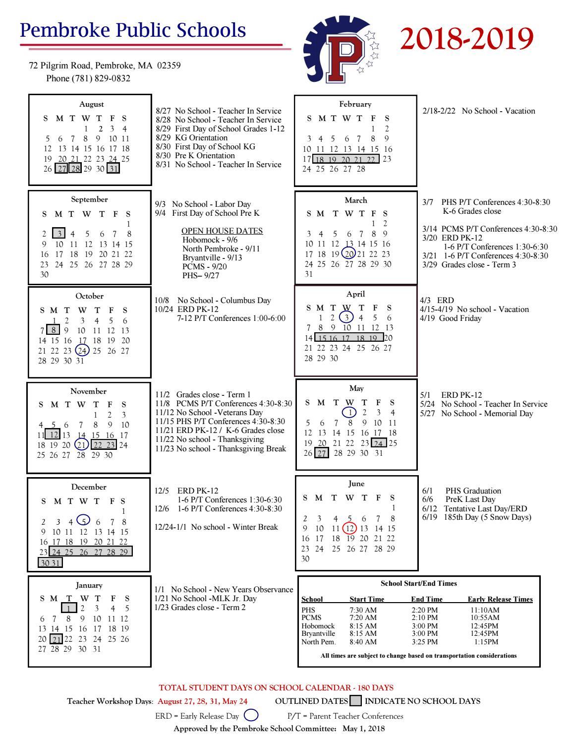 Pembroke Public Schools 2018 2019 Calendar By Pembroke Public