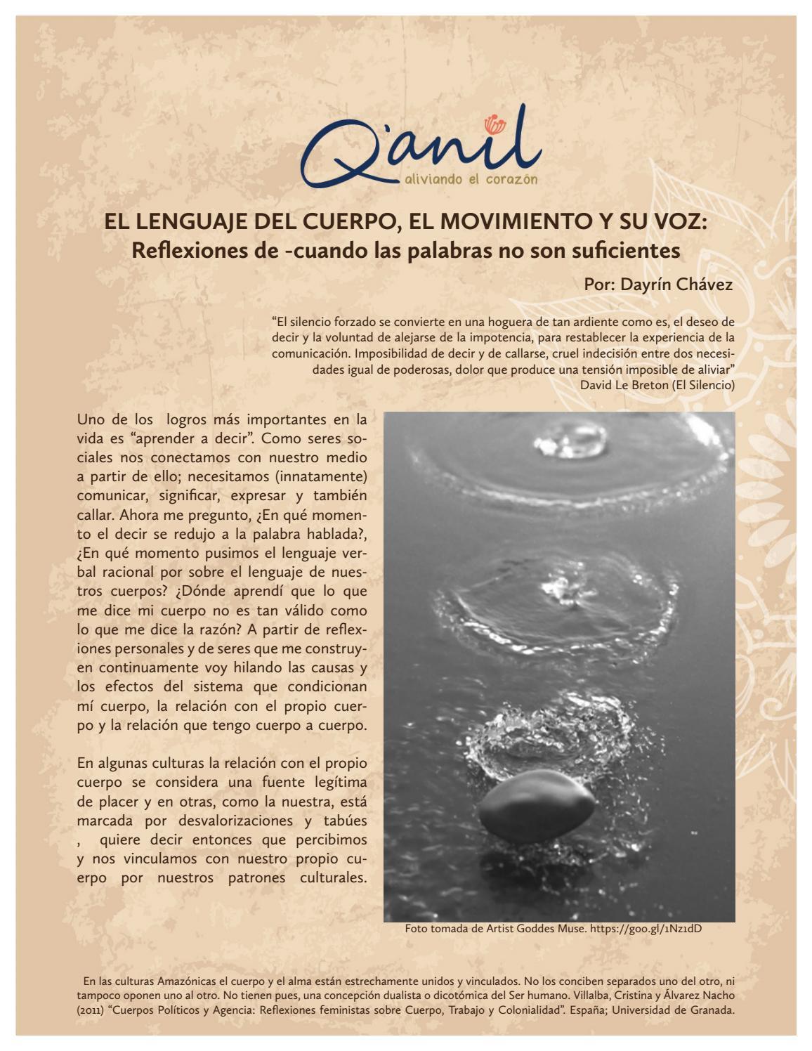 EL LENGUAJE DEL CUERPO, EL MOVIMIENTO Y SU VOZ by Centro Q\'anil - issuu