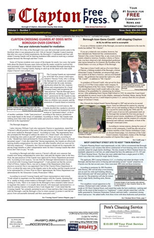 Clayton Free Press August, 2018 Issue (Volume 1 Number 7