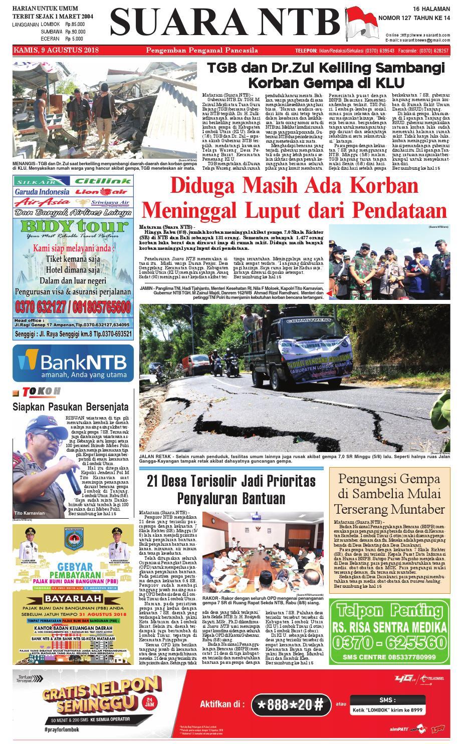 Edisi Kamis 9 Agustus 2018 Suara Ntb By E Paper Kmb Issuu Produk Ukm Bumn Wisata Mewah Bali 3hr 2mlm