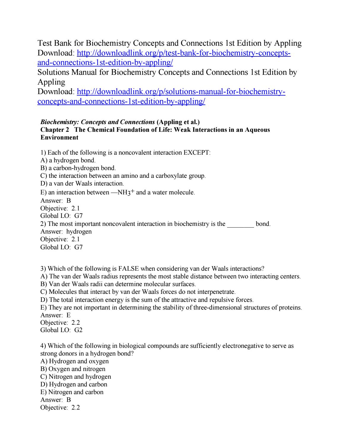 Test Bank for Biochemistry Concepts and Connections 1st Edition by Appling  by ys092 - issuu