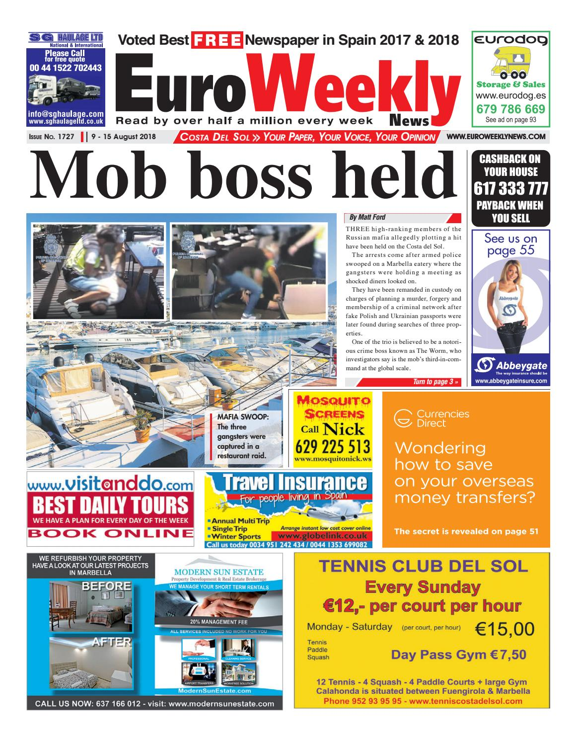 2b20812eb84 Euro Weekly News - Costa del Sol 9 - 15 August 2018 Issue 1727 by Euro  Weekly News Media S.A. - issuu