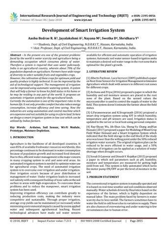 IRJET-Development of Smart Irrigation System