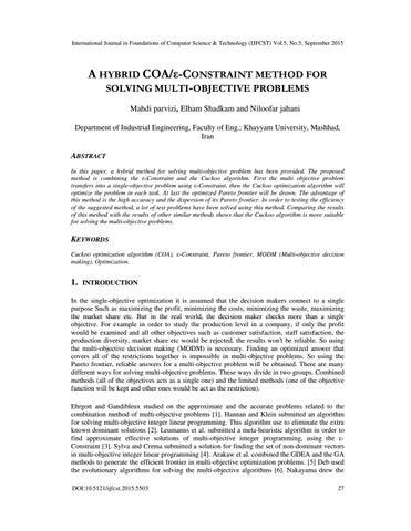 A HYBRID COA/ε-CONSTRAINT METHOD FOR SOLVING MULTI-OBJECTIVE