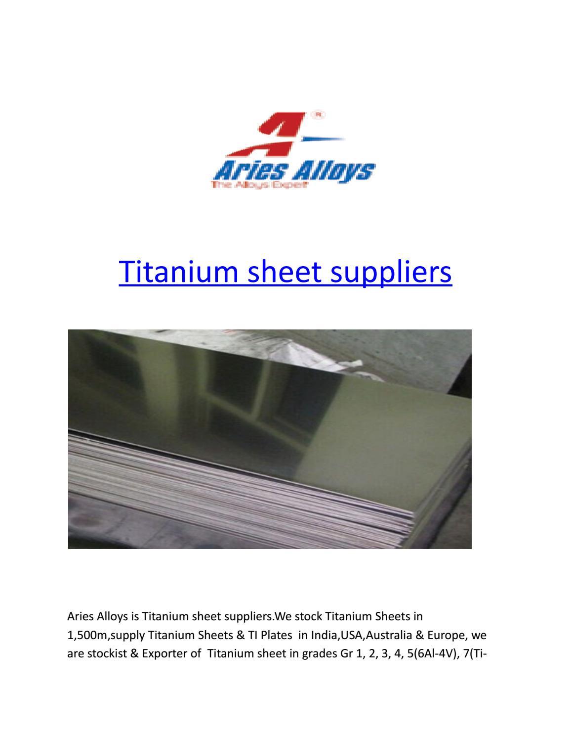 Titanium sheet suppliers by ariesalloys - issuu
