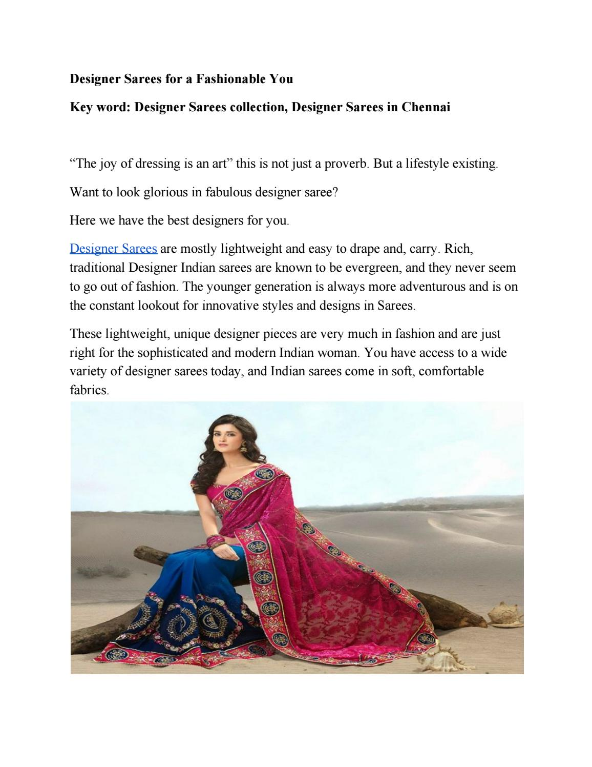 Designer Sarees For A Fashionable You By Chennai Pothysall Issuu