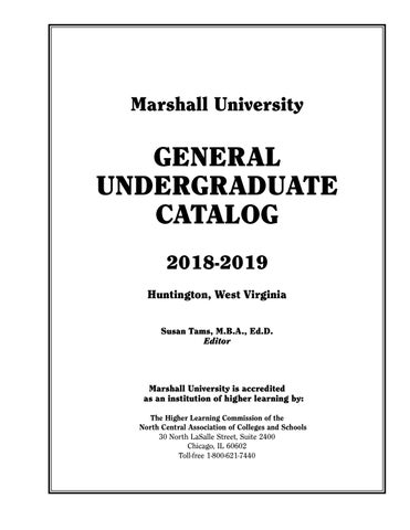 Undergraduate Catalog 2018-19 by Susan Tams, Marshall