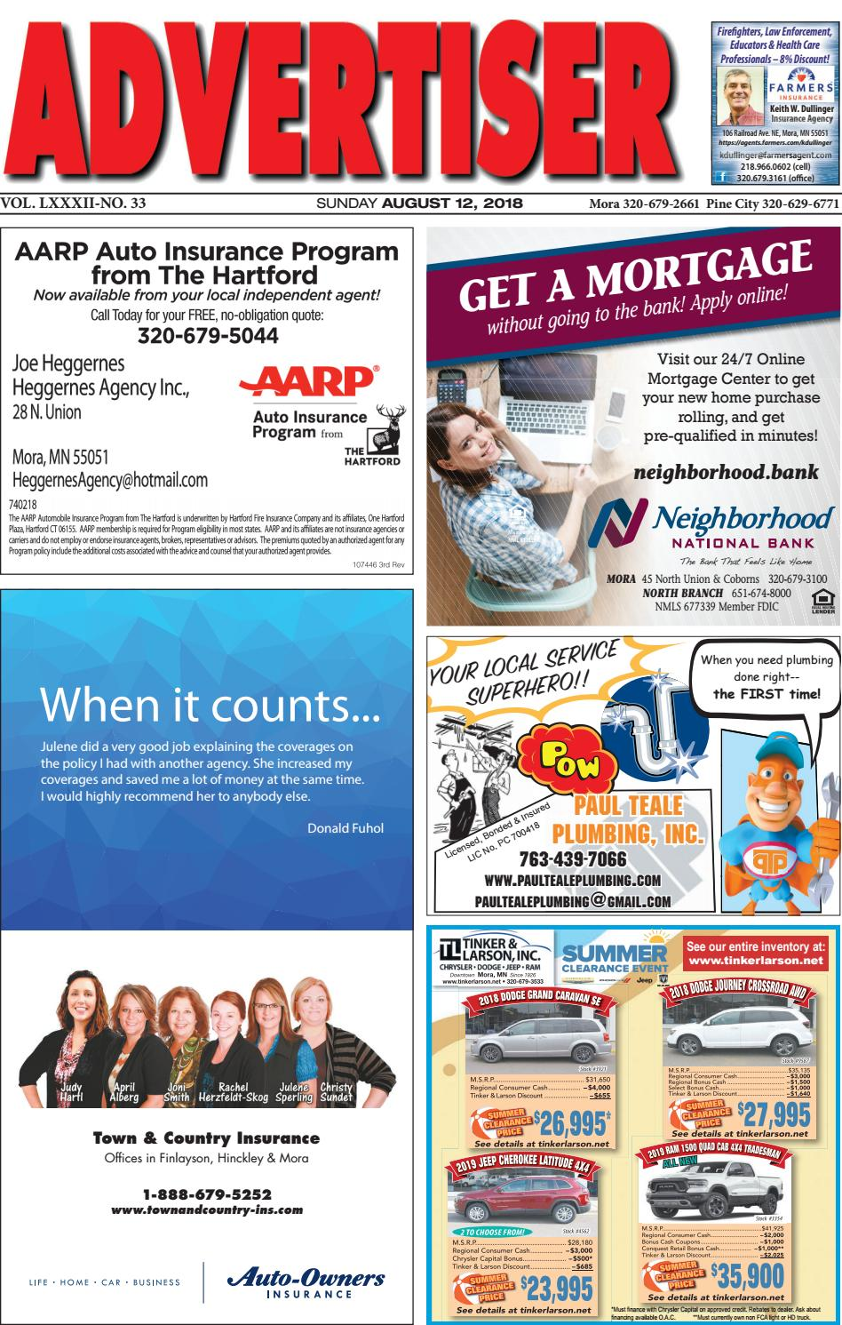 Mora Advertiser 81218 by Kanabec County Times/Pine City Pioneer - issuu