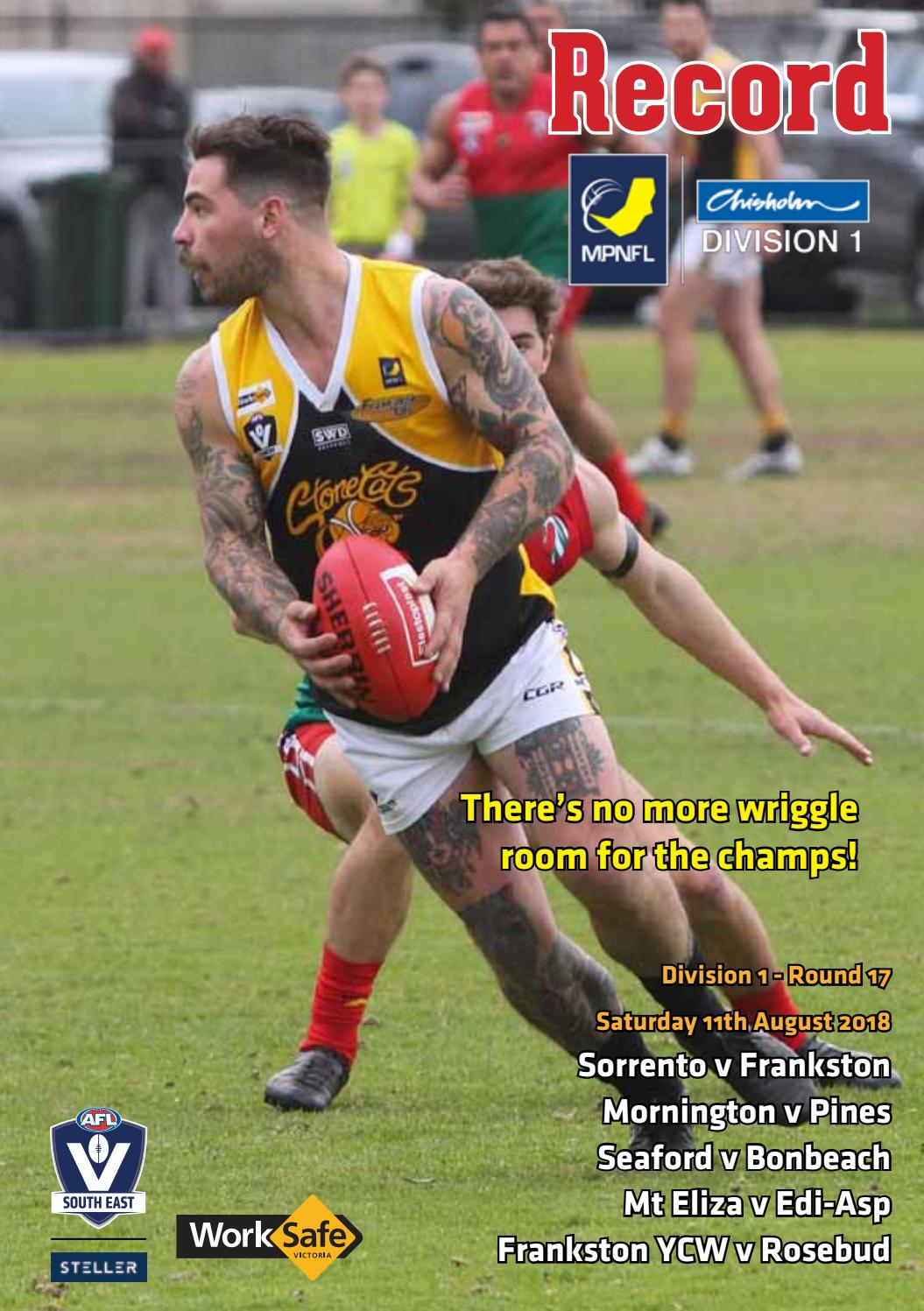 MPNFL Footy Record August 4 by AFL South East - issuu 4191677c0ee6