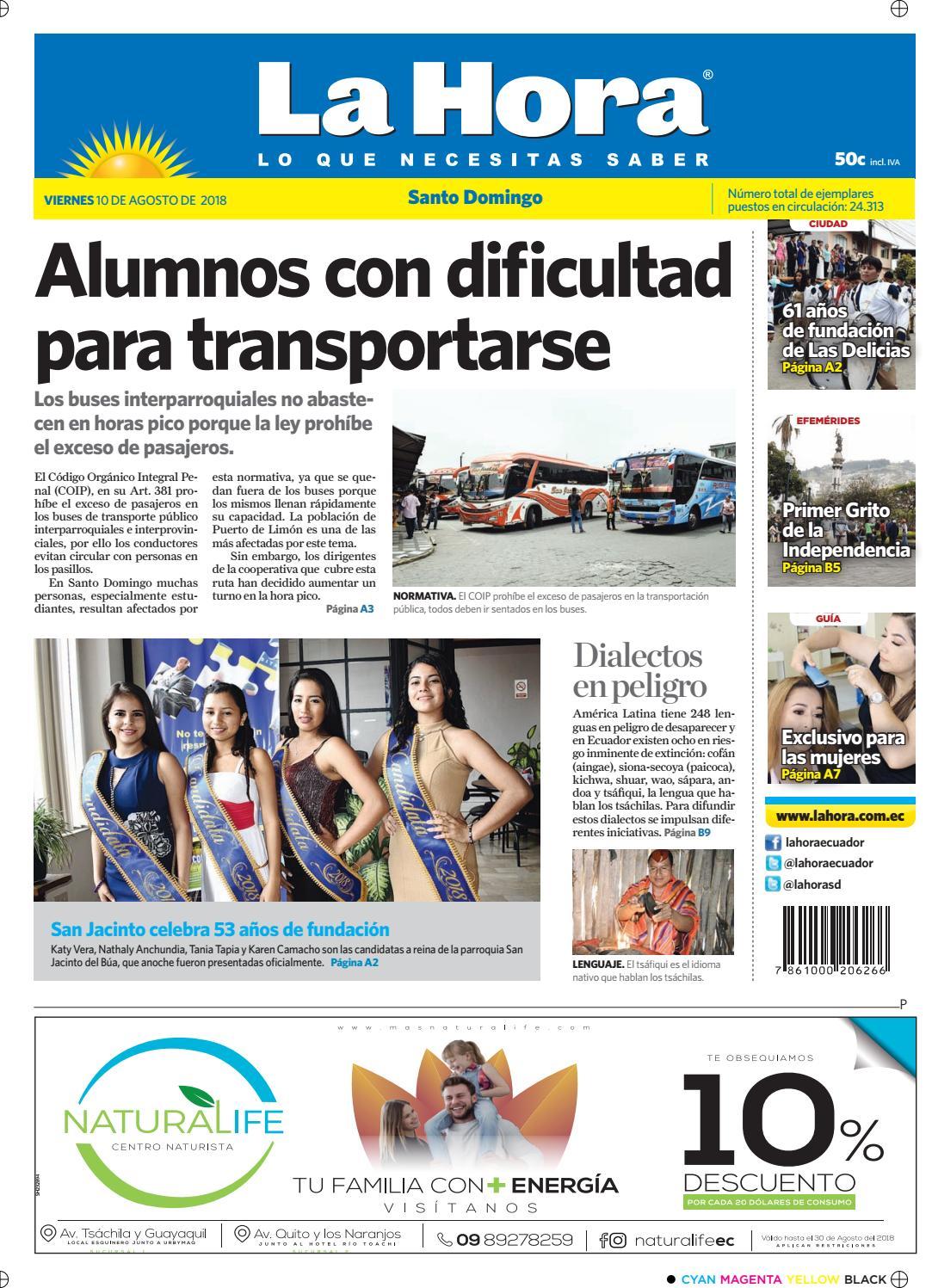 Santo Domingo 10 de agosto de 2018 by Diario La Hora Ecuador - issuu