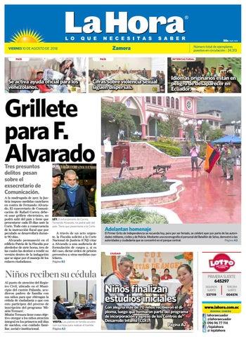 Diario La Hora Zamora 10 de Agosto 2018 by Diario La Hora Ecuador ... 8eebd41bcb912