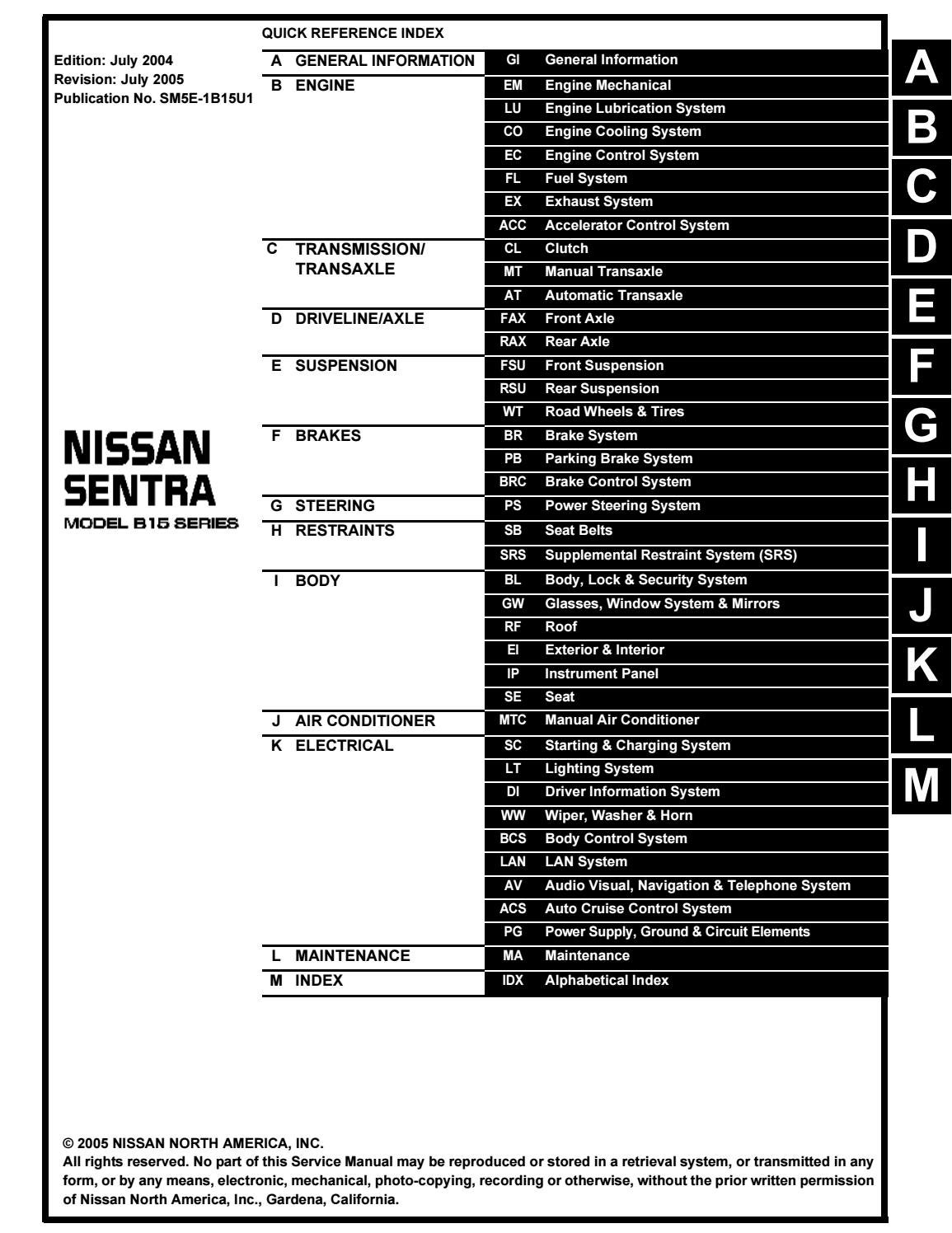 Nissan Sentra Service Manual: Precautions