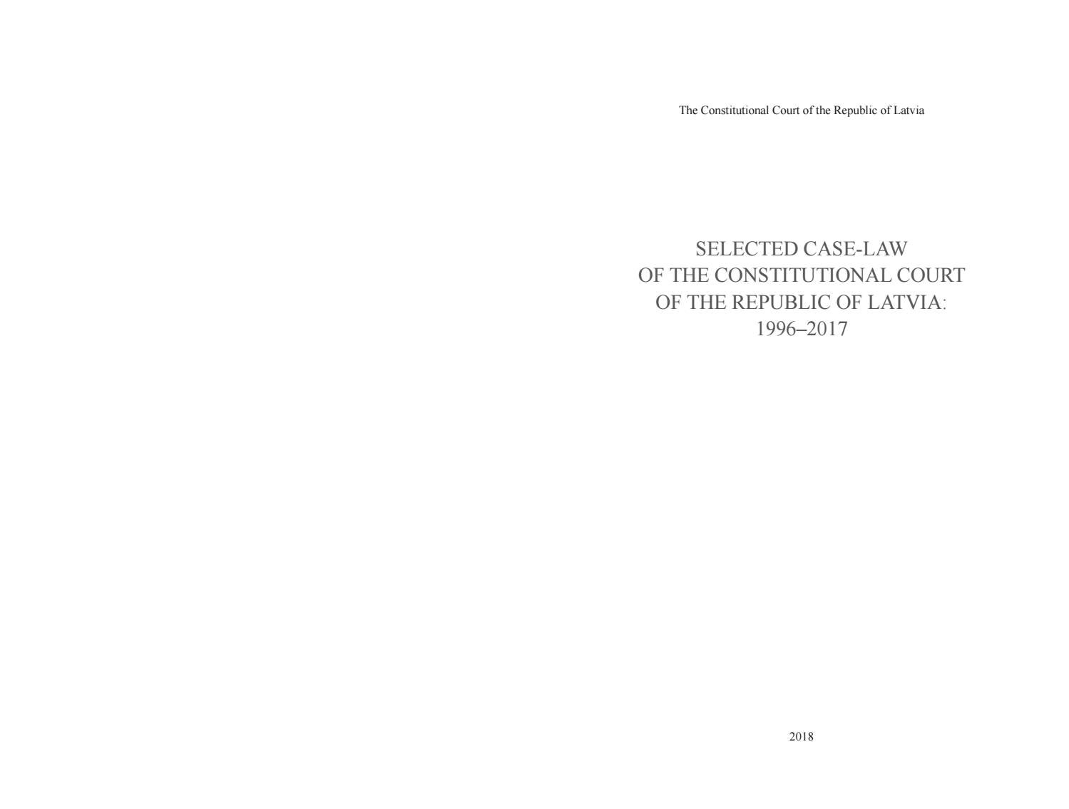 SELECTED CASE-LAW OF THE CONSTITUTIONAL COURT OF THE
