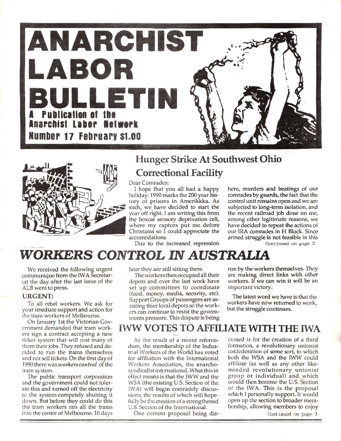 Anarchist Labor Bulletin, Number 17, February 1990 by Arm The Spirit