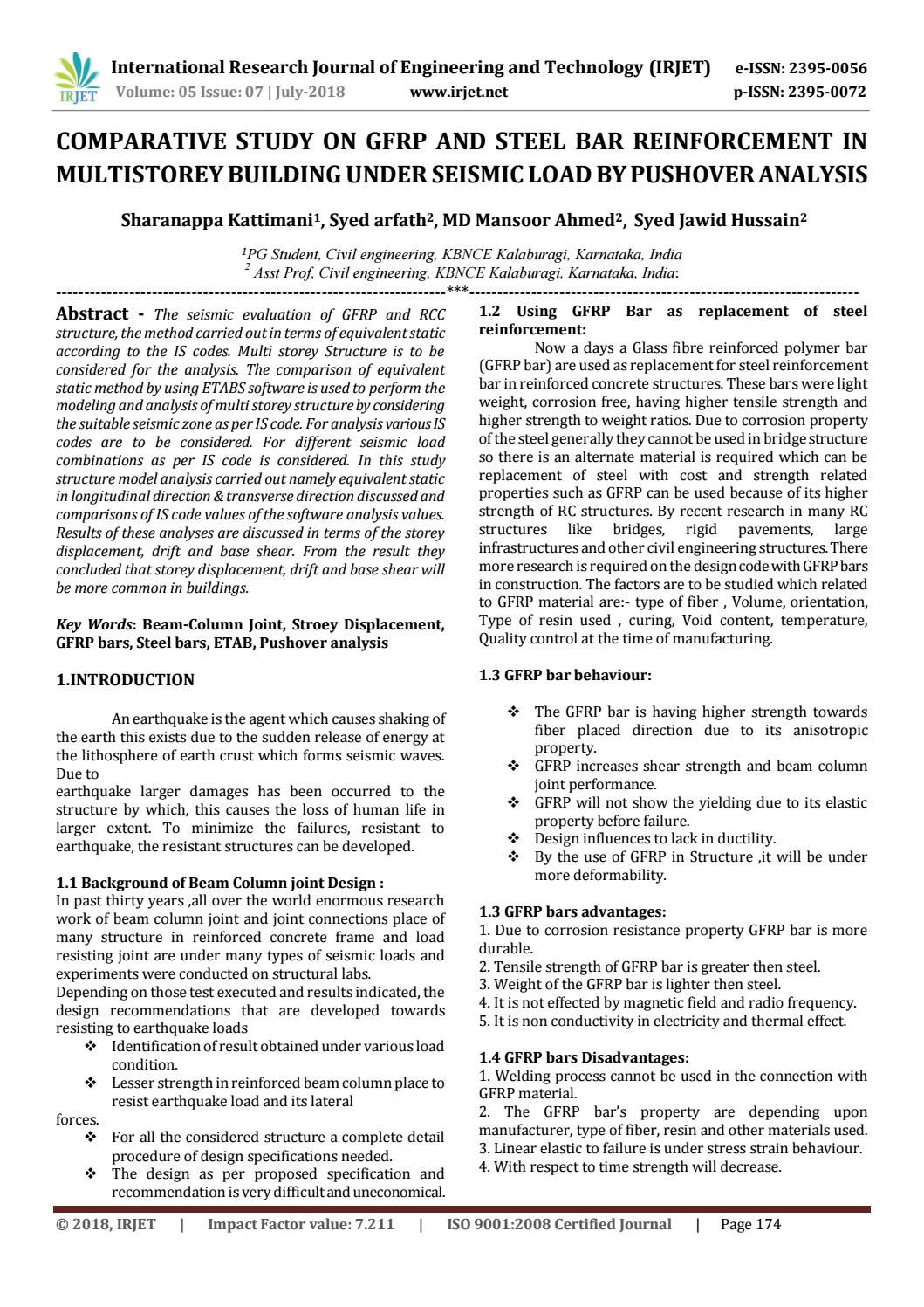 IRJET-Comparative Study on GFRP and Steel Bar Reinforcement