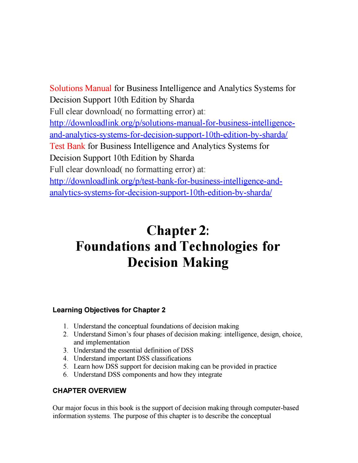 Solutions Manual for Business Intelligence and Analytics