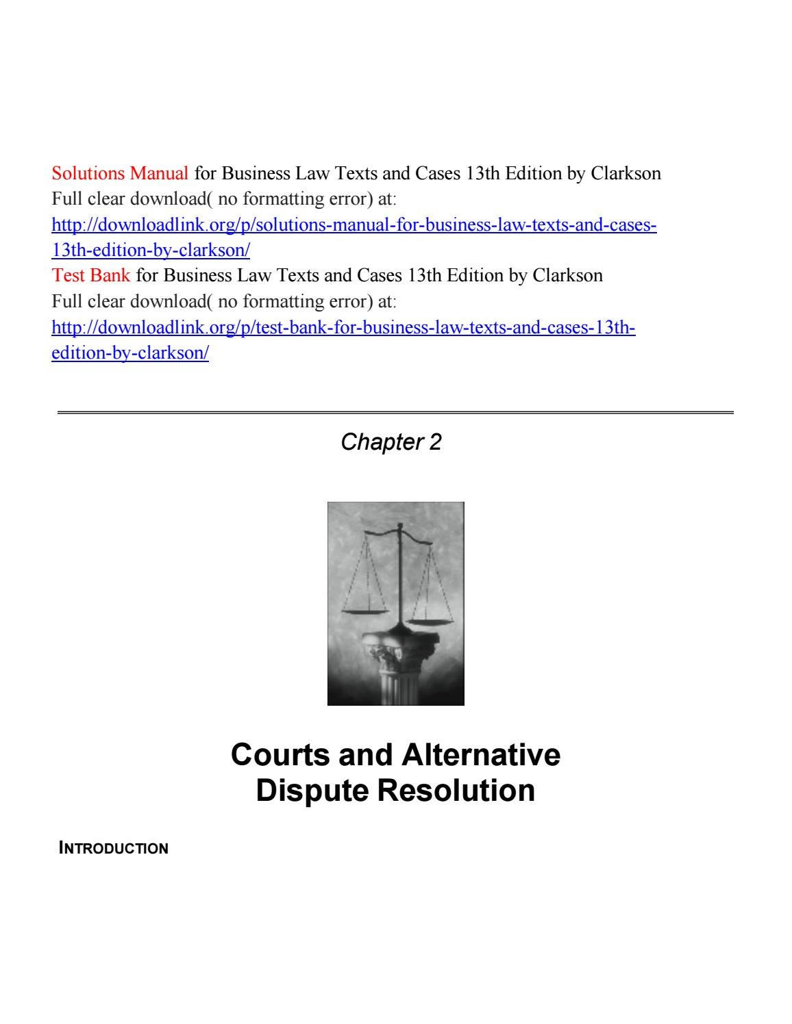 Solutions Manual for Business Law Texts and Cases 13th Edition by Clarkson  by CooKi5472 - issuu