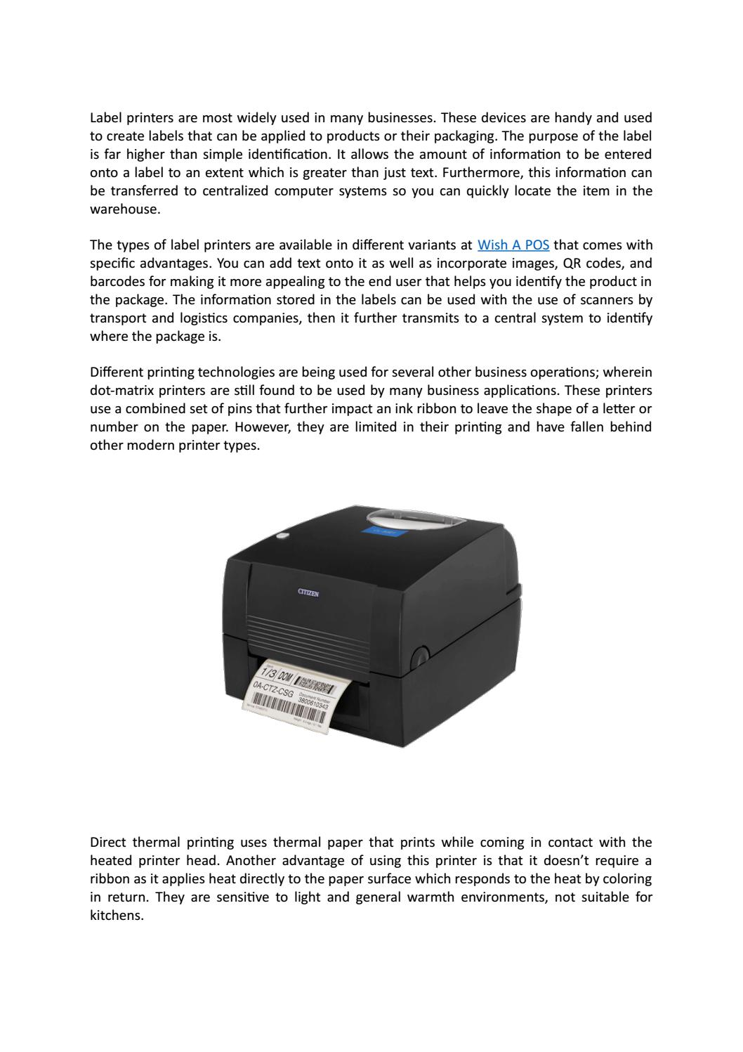 Role of Label Printers in Business @ www wishapos com au by