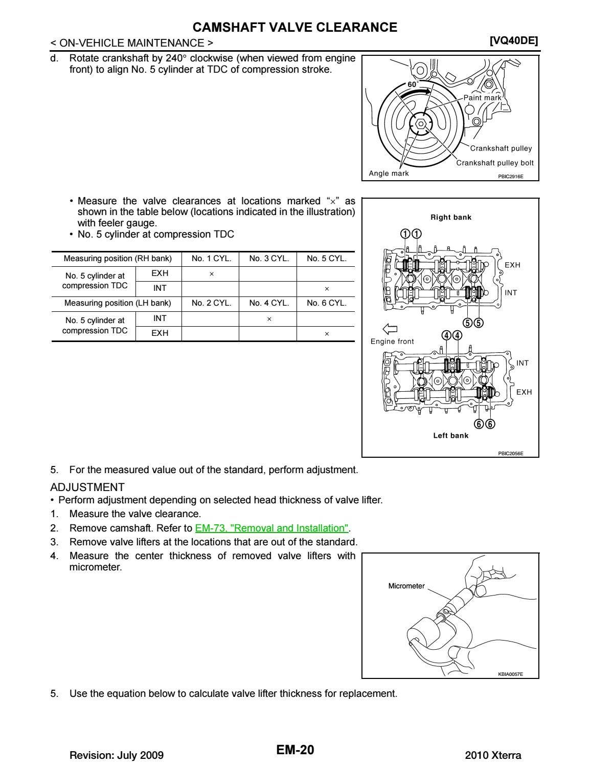 Nissan Rogue Service Manual: Camshaft valve clearance