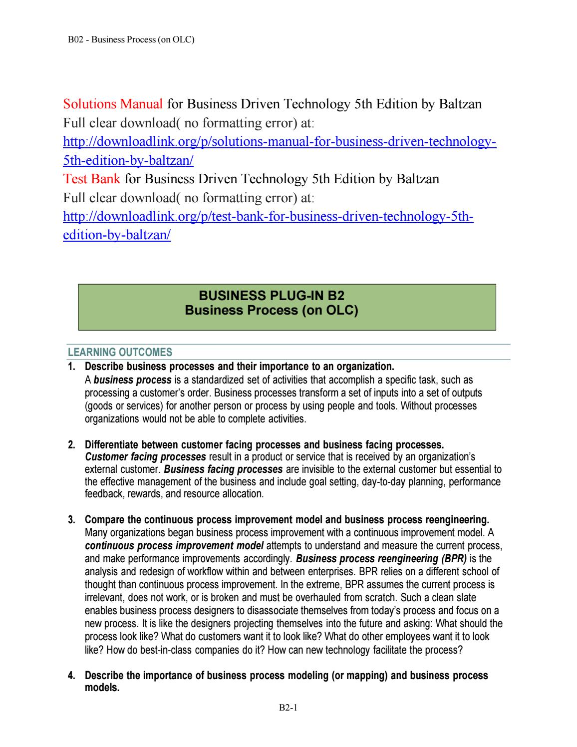 Solutions Manual for Business Driven Technology 5th Edition by Baltzan by  Mann9654 - issuu