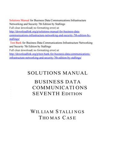 Solutions Manual For Business Data Communications Infrastructure
