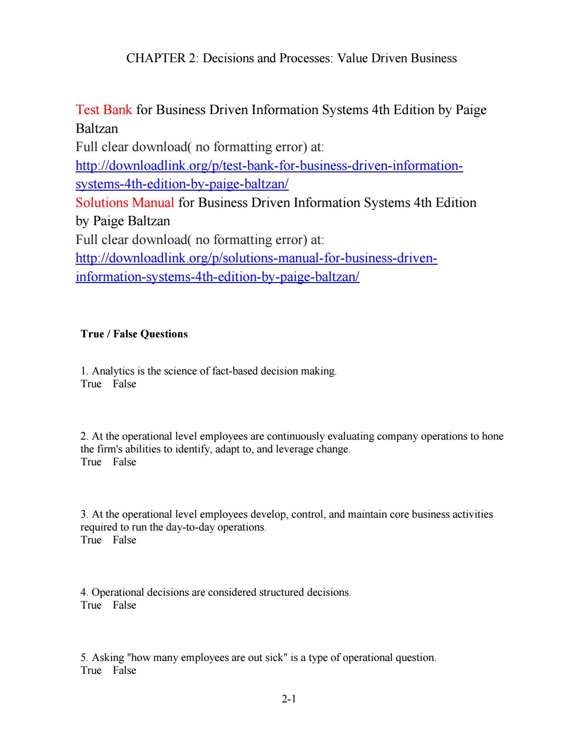 Test Bank for Business Driven Information Systems 4th Edition by Paige  Baltzan by Twomey568 - issuu