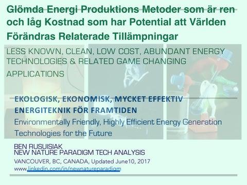 Glömda Energi Produktions Metoder om är ren och låg Kostnad