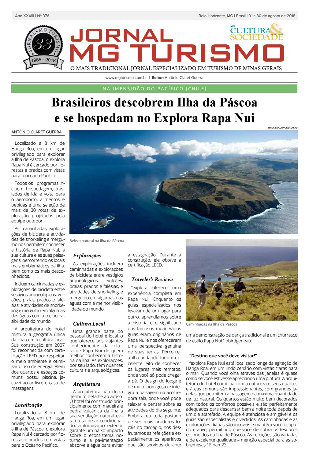 Jornal MG Turismo — Ano XXXIII — Número 376 — 1º a 31 de Agosto de 2018 by  Turismoria  João Zuccaratto - issuu d7593206dd8b8