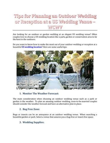Free Outdoor Wedding Venues.Tips For Planning An Outdoor Wedding Or Reception At A Us