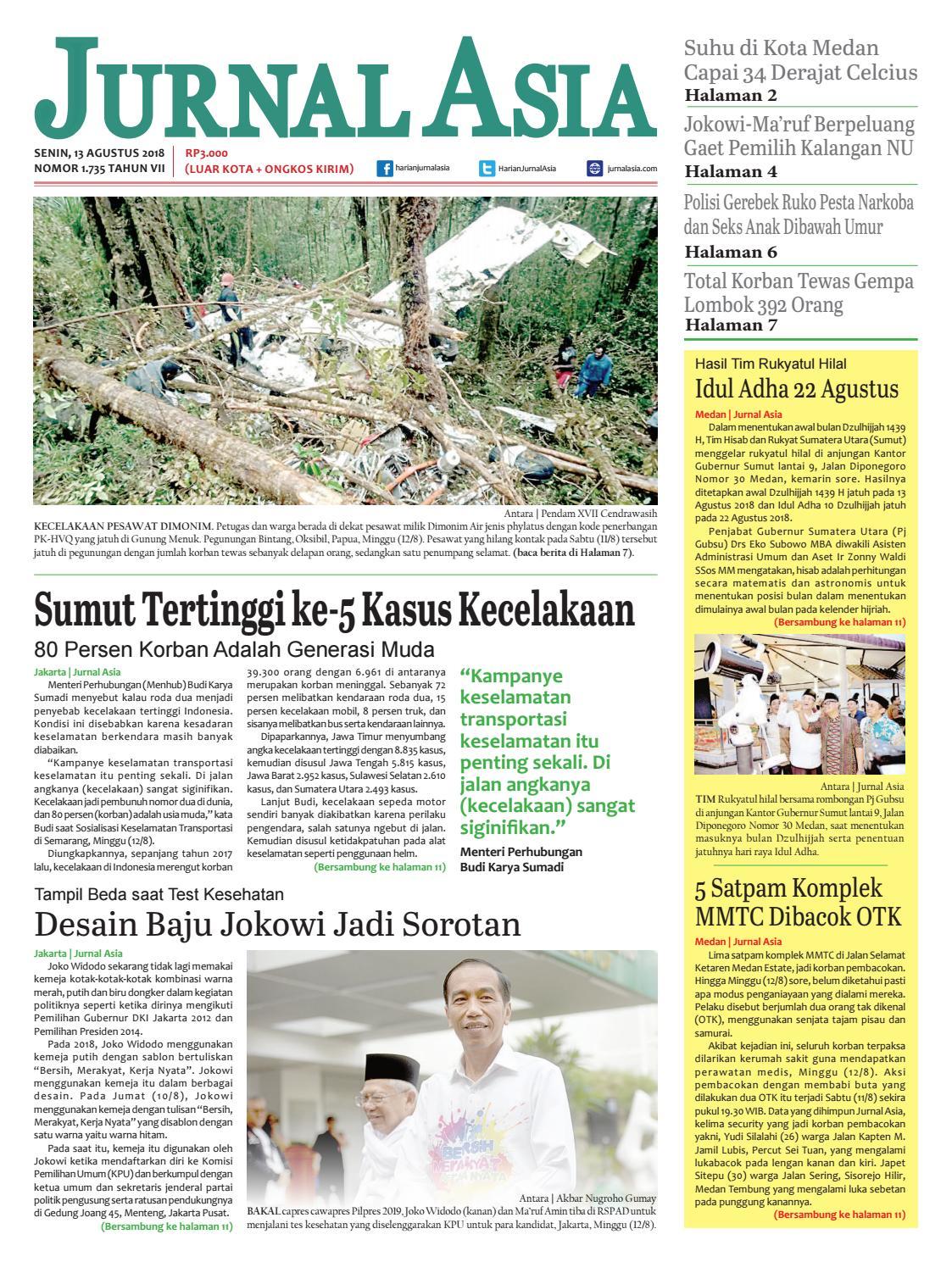 Harian Jurnal Asia Edisi Senin 13 Agustus 2018 By Harian