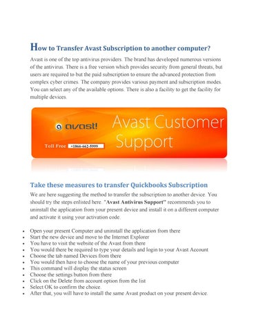 transferring avast to new computer