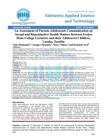 An Assessment Of Parents Adolescents Communication On Sexual And Reproductive Health Matters B E By Bakeralex624 Issuu