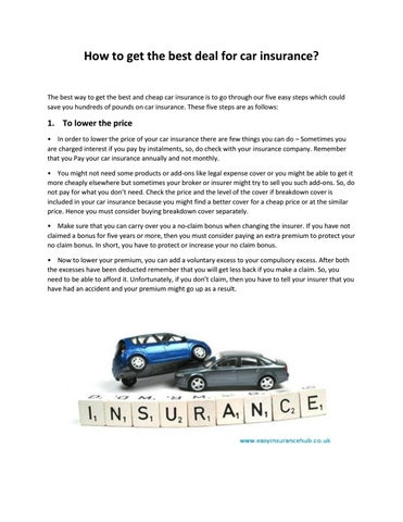 How To Get The Best Deal For Car Insurance By Sidney Brown Issuu
