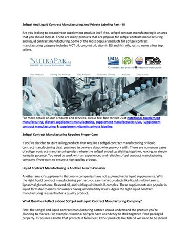 Softgel And Liquid Contract Manufacturing And Private Labeling Part