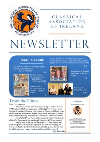 "Cover of ""Classical Association of Ireland Newsletter May 2018"""