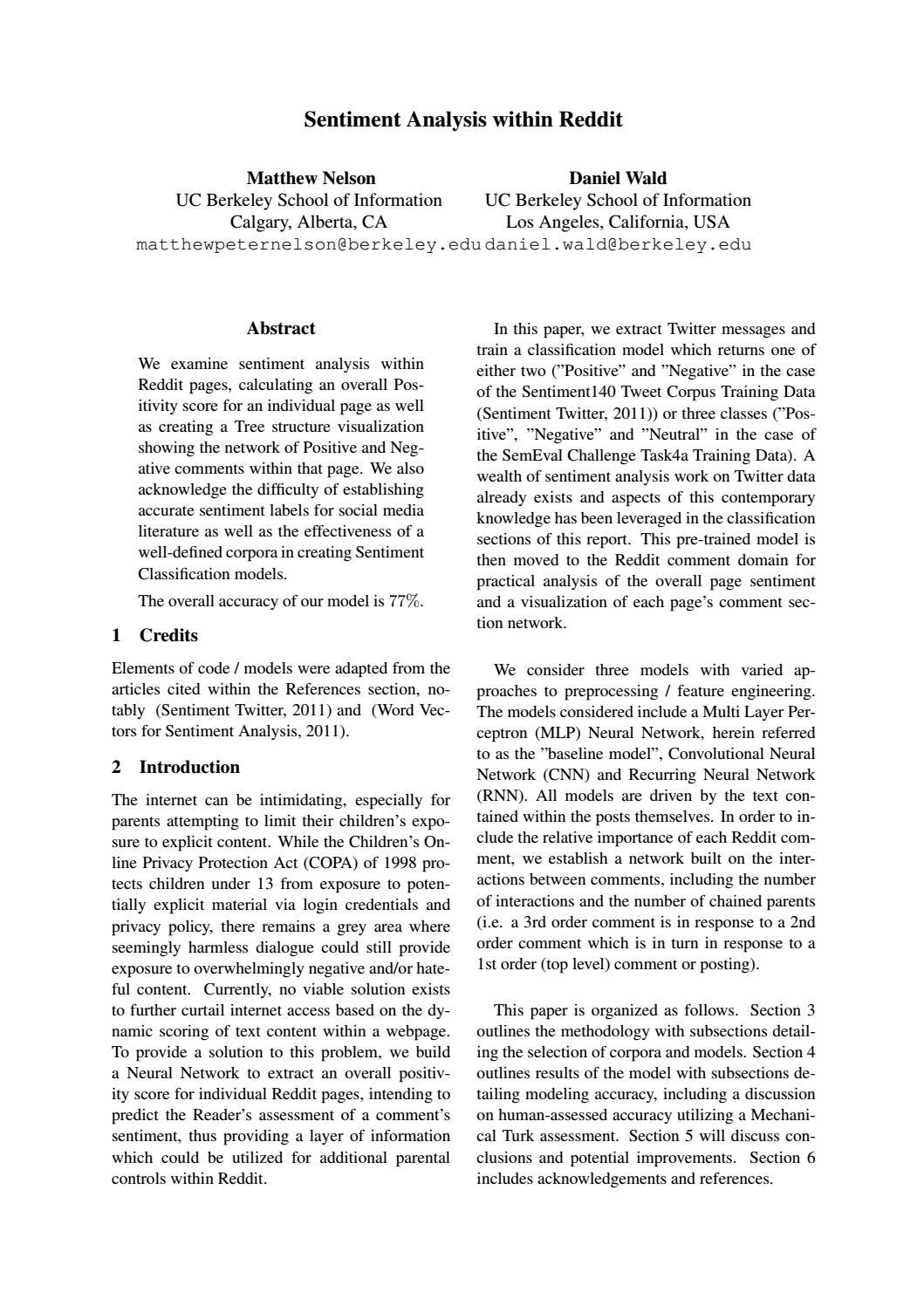 Sentiment Analysis in Reddit - Paper by Matthew Nelson - issuu