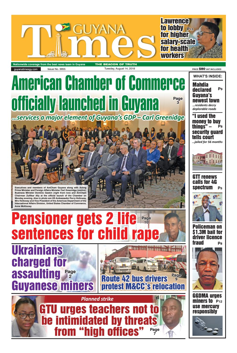 Guyana Times Epaper - Tuesday, August 14, 2018 by Gytimes - issuu