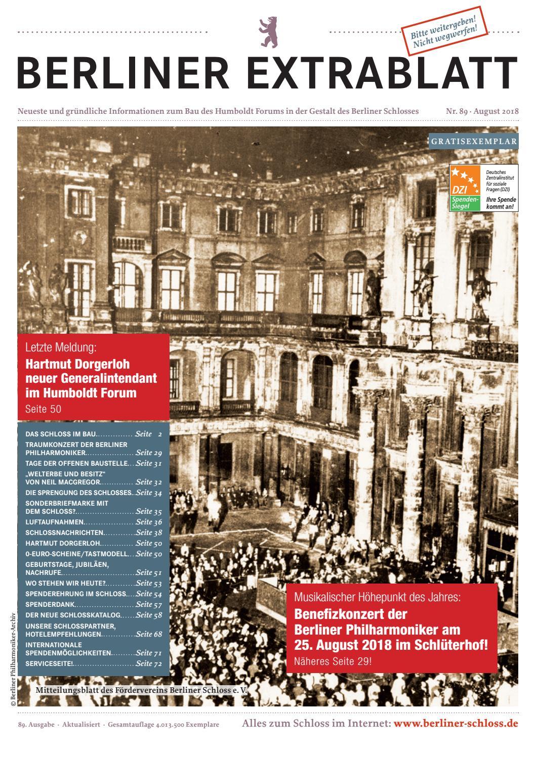 Berliner Extrablatt Ausgabe 89 By Förderverein Berliner Schloss   Issuu