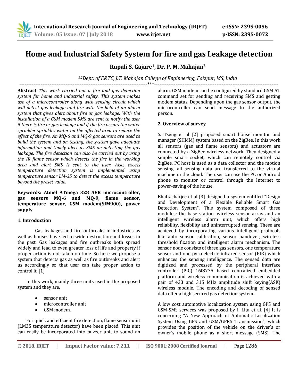 Irjet Home And Industrial Safety System For Fire Gas Leakage Mq 6 Circuit Diagram Detection By Journal Issuu